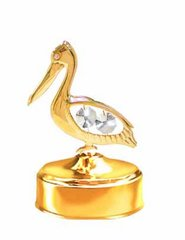 Gold Plated Pelican Music Box w/Clear Swarovski Element Crystal