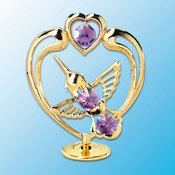 Gold Plated Hummingbird in Heart on Stand w/Purple Swarovski Element Crystals
