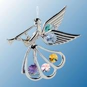 Chrome Plated Angel w/Trumpet Ornament w/Mixed Swarovski Element Crystal
