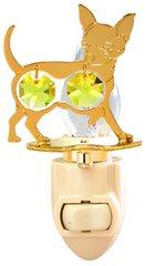 Gold Plated Dog (Chihuahua) Night Light w/Gold Swarovski Element Crystal