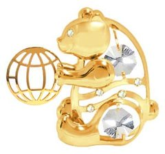Gold Plated Bear w/ Ball Sun Catcher (Magnet) w/Swarovski Element Crystal