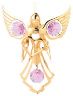 Gold Plated Angel w/Heart Ornament w/Pink Swarovski Element Crystal
