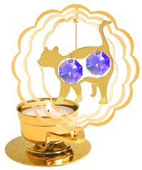 Gold Plated Cat T-Lite w/Swarovski Element Crystal