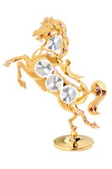 Gold Plated Horse on Stand w/Swarovski Element Crystal