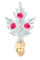 Chrome Plated Maple Leaf Night Light w/Swarovski Element Crystal