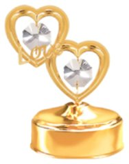 Gold Plated Twin Hearts With Love Music Box w/ Swarovski Element Crystal
