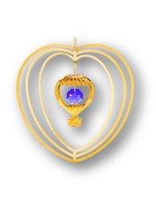 Gold Plated Hot Air Balloon Ornament w/Purple Swarovski Element Crystal