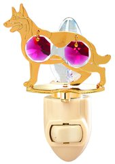 Gold Plated Dog (German Sheperd) Night Light w/Red Swarovski Element Crystal