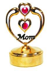 Gold Plated Mom in Heart Music Box w/Purple Swarovski Element Crystal
