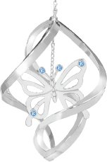 Chrome Plated Butterfly Spiral Ornament w/Blue Swarovski Element Crystals