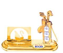 Gold Plated Golf Bag Card Holder w/Clear Swarovski Element Crystal