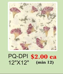 "12"" x 12"" Premium Quality (PQ) Handmade Real Flower Paper - Only $2 each (Set of 12 = total $24)"