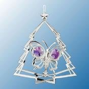 Chrome Plated Butterfly in Tree Ornament w/Purple Swarovski Element Crystal