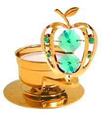 Gold Plated Apple T-Lite w/Green Swarovski Element Crystal