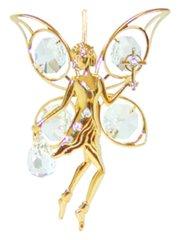Gold Plated Fairy w/Cross Ornament w/Swarovski Element Crystals