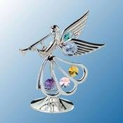 Chrome Plated Angel w/Trumpet on stand w/Mixed Swarovski Element Crystal