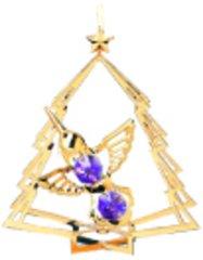 Gold Plated Hummingbird in Tree Ornament w/Purple Swarovski Element Crystal