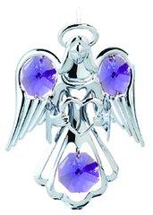 Chrome Plated Small Angel w/Heart Ornament w/Swarovski Element Crystals