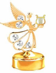 Gold Plated Angel w/Lyre Music Box w/Clear Swarovski Element Crystal