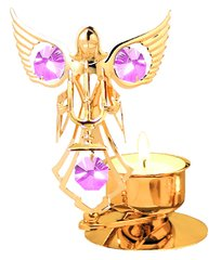 Gold Plated Angel w/Candles T-Lite w/Swarovski Element Crystal