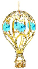 Gold Plated Hot Air Balloon Ornament w/Swarovski Element Crystal