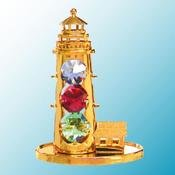 Gold Plated Light House on stand w/Mixed Swarovski Element Crystal