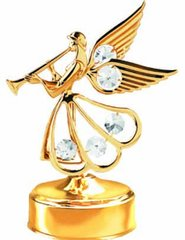 Gold Plated Angel w/Trumpet Music Box w/Clear Swarovski Element Crystal