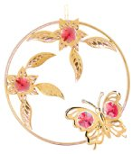Gold Plated Butterfly/Flowers Ornament w/Red Swarovski Element Crystal