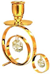 Gold Plated Classic Candle Holder w/Swarovski Element Crystal