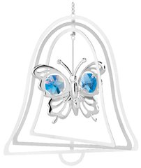 Chrome Plated Butterfly Bell Ornament w/Blue Swarovski Element Crystal