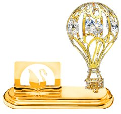 Gold Plated Hot Air Balloon Card Holder w/Clear Swarovski Element Crystal