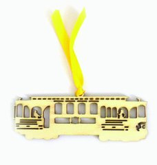 (Set of 4) Cable Car Laser Cut Pressed Wood Ornaments/Bookmarks