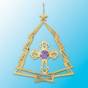 Gold Plated Cross in Tree Ornament w/Purple Swarovski Element Crystal