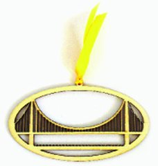 (Set of 4) San Francisco Golden Gate Bridge Laser Cut Pressed Wood Ornaments/Bookmarks