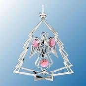 Chrome Plated Angel w/Heart in Tree Ornament w/Pink Swarovski Element Crystal