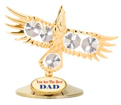 Gold Plated Bald Eagle on Stand w/Swarovski Element Crystal
