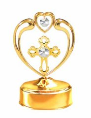 Gold Plated Cross in Heart Music Box w/Clear Swarovski Element Crystal