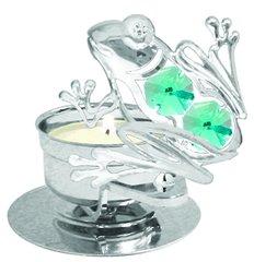 Frog T-Lite w/Green Swarovski Element Crystal