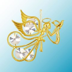 Gold Plated Flying Angel w/Dove Ornament w/Swarovski Element Crystals