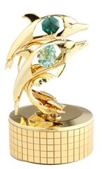 Gold Plated Twin Dolphins Music Box w/Swarovski Element Crystal