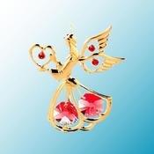Gold Plated Angel w/Heart Ornament w/Swarovski Element Crystal