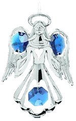 Chrome Plated Small Angel w/Open Arms Ornament w/ Swarovski Element Crystals