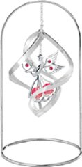 "Chrome Plated Angel w/Heart Spiral w/ 8"" Arch Stand Ornament w/Red Swarovski Element Crystal"