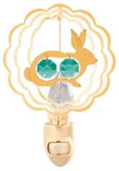 Gold Plated Twin Rabbit Night Light w/Swarovski Element Crystal