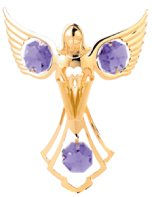Gold Plated Praying Angel Ornament w/Purple Swarovski Element Crystal
