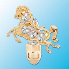 Gold Plated Horse Night Light w/Swarovski Element Crystal