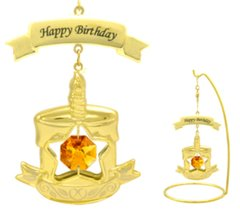 "Gold Plated Birthday Cake/""Happy Birthday"" with 5"" Stand w/Swarovski Element Crystal"