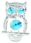 Chrome Plated Hooded Owl Ornament w/Blue Swarovski Element Crystal