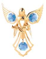 Gold Plated Angel w/Baby Ornament w/Blue Swarovski Element Crystal