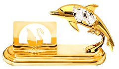 Gold Plated Dolphin Card Holder w/Clear Swarovski Element Crystal
